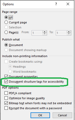 Screenshot of MS Word on Windows file save option with the checked checkbox Document structure tags for accessibility