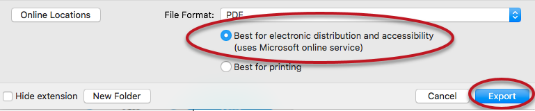 Screenshot of the MS Word on Mac file save option in PDF with the checked checkbox Best for electronic distribution and accessibility