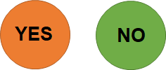An orange circle with a word Yes and a green circle with a word No.