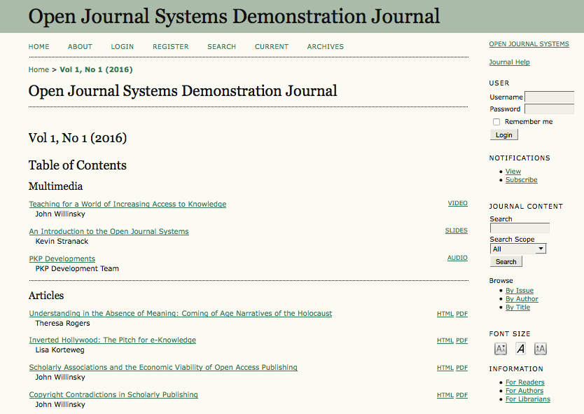 Open Journal Systems Table of Contents