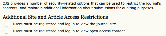 Additional Site and Article Access Restrictions