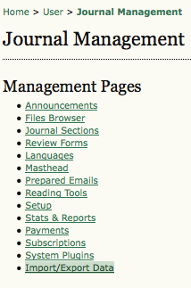 Journal Management Pages: Import/Export Data