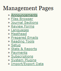 Management Pages: Announcements