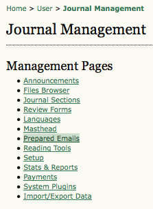 Management Pages: Prepared Email