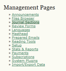 Management Pages: Journal Sections