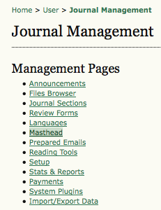 Management Pages: Masthead