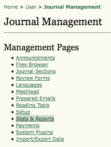 Journal Management Pages: Stats & Reports