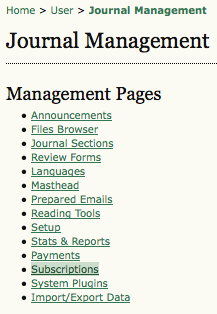 Management Pages: Subscriptions