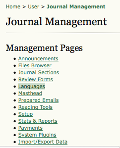 Management Pages: Languages