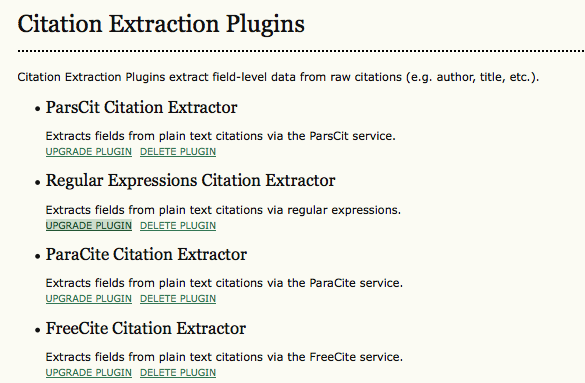 Citation Extraction Plugins