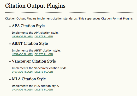 Citation Output Plugins