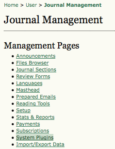 Journal Management Pages: System Plugins