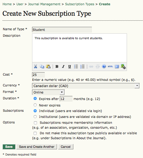 Create New Subscription Type