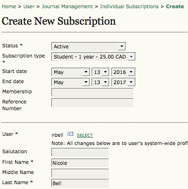 Create New Subscription