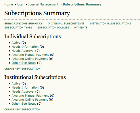 Subscriptions Summary