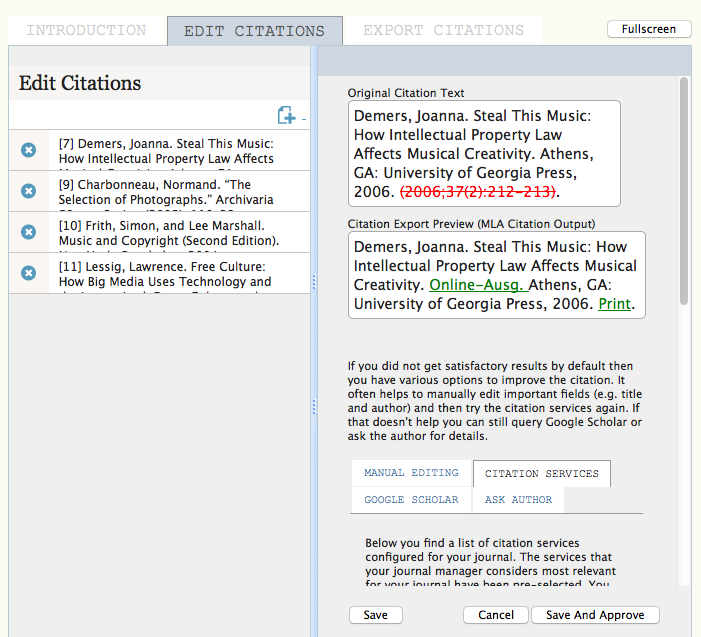 Citation Markup Assistant: Viewing the Edit Citations View Pane