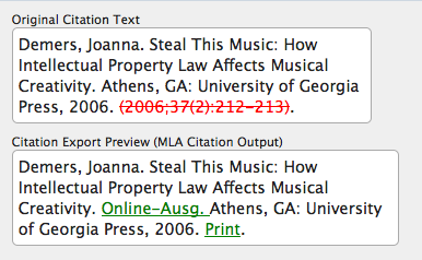 Citation Markup Assistant: Original and Parsed Citations