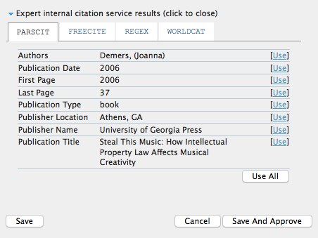 Citation Markup Assistant: Expert Internal Citation Service Results