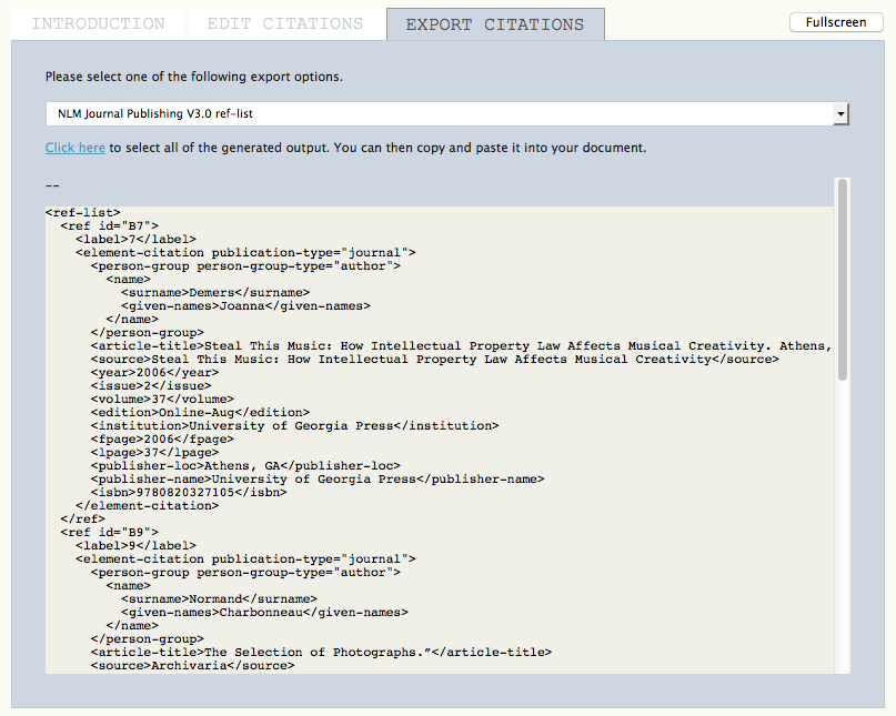 Citation Markup Assistant: NLM XML Export
