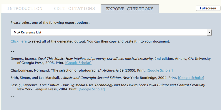 Citation Markup Assistant: MLA Export