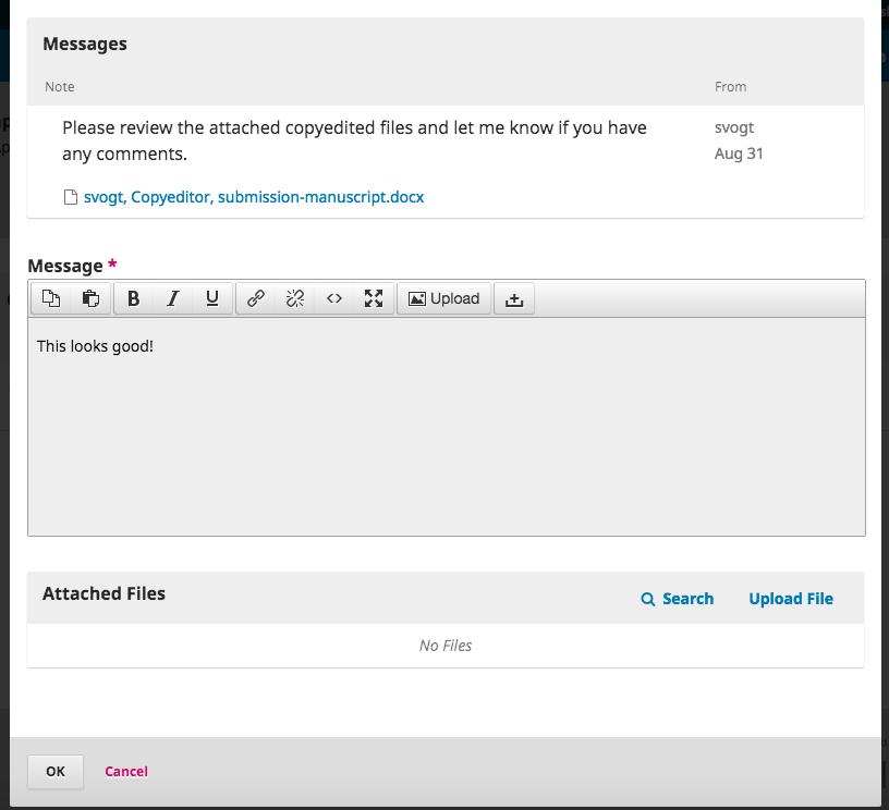 Respond to copyediting check message