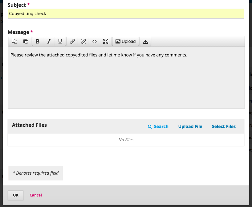 The file upload area of the Add Discussion window.