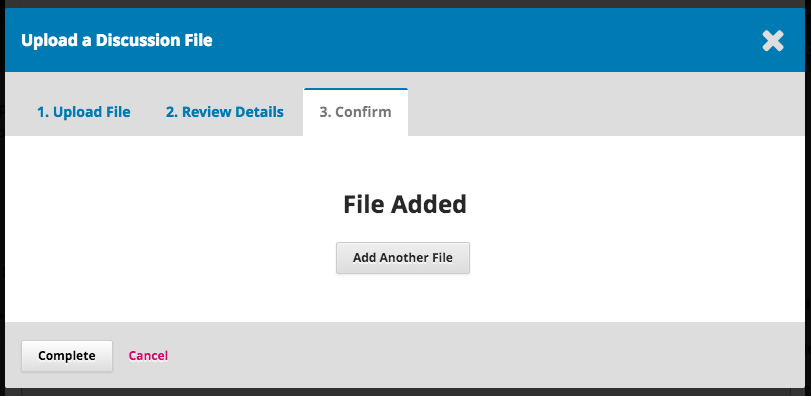 The Confirmation step of the file upload.