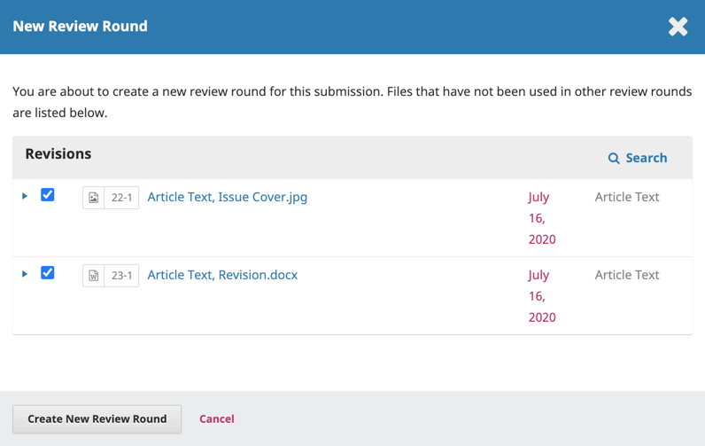 File selection options for a newly created review round.