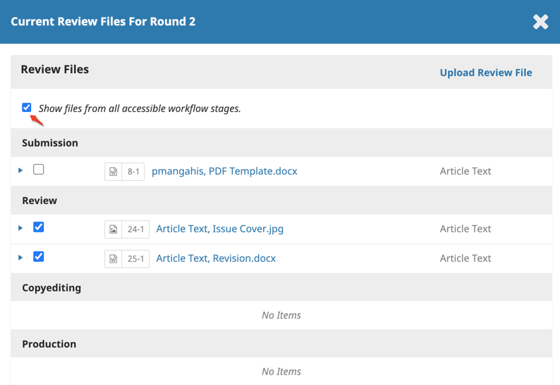 """The list of files for a submission including previous round after the """"Show files from all accessible workflow stages"""" option is enabled."""