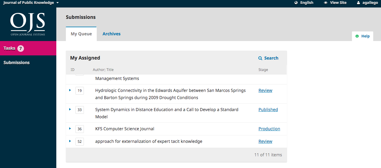The assigned submissions queue in reviewer dashboard