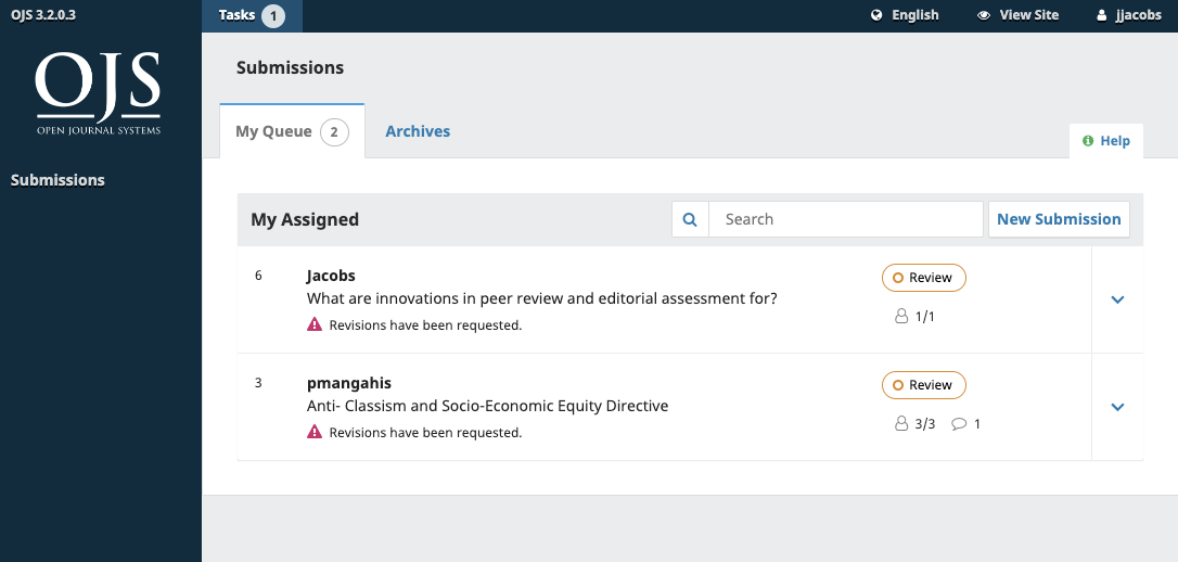 Submission dashboard with items in review