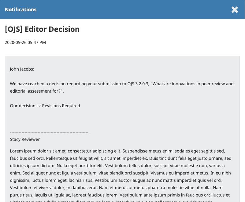 Editor decision notification