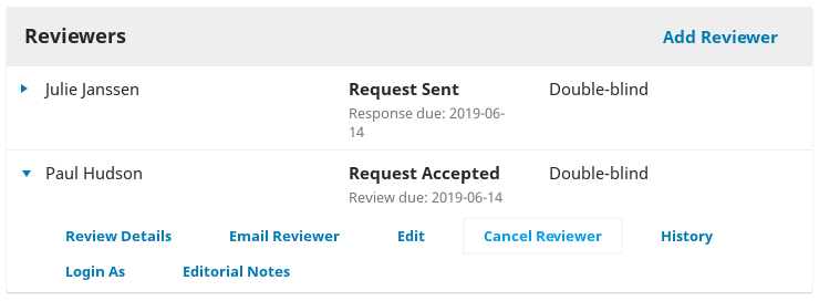 The Cancel Reviewer option in the expanded Reviewer options.