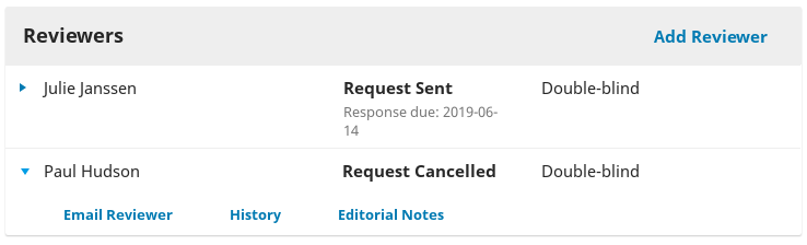 """A sample review request marked """"Request cancelled""""."""