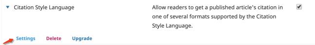 Citation Style Language Plugin settings button.