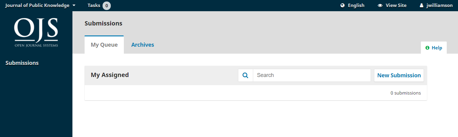 Submissions queue in author dashboard