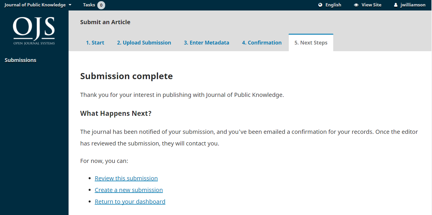 Next steps submission screen