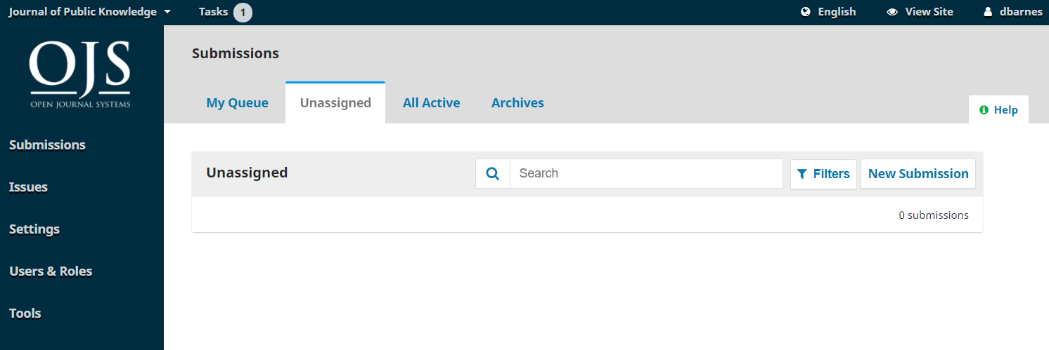 The Unassigned tab in the Submissions dashboard.