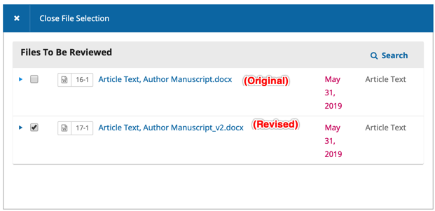 Options to toggle which files are included for review.