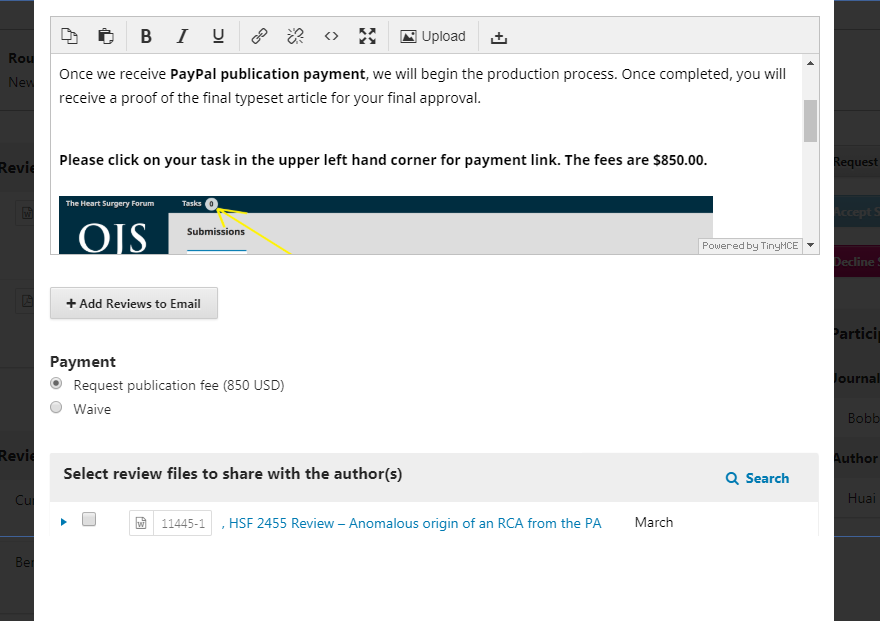 A sample notification for a journal with APCs enabled.