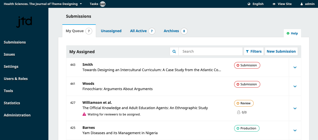 The submission dashboard in OJS.