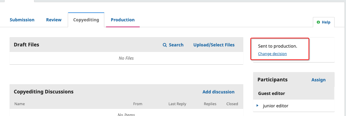 """The """"Sent to production"""" status."""