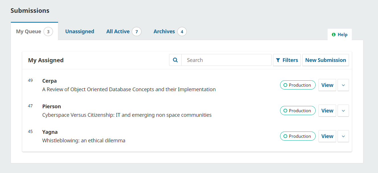 The My Assigned queue on the OJS Submissions Dashboard, with the example article by Cerpa at the top of the queue.