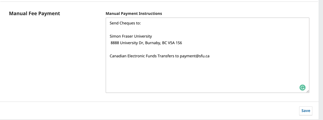 Sample manual payment instructions entered in the settings screen.