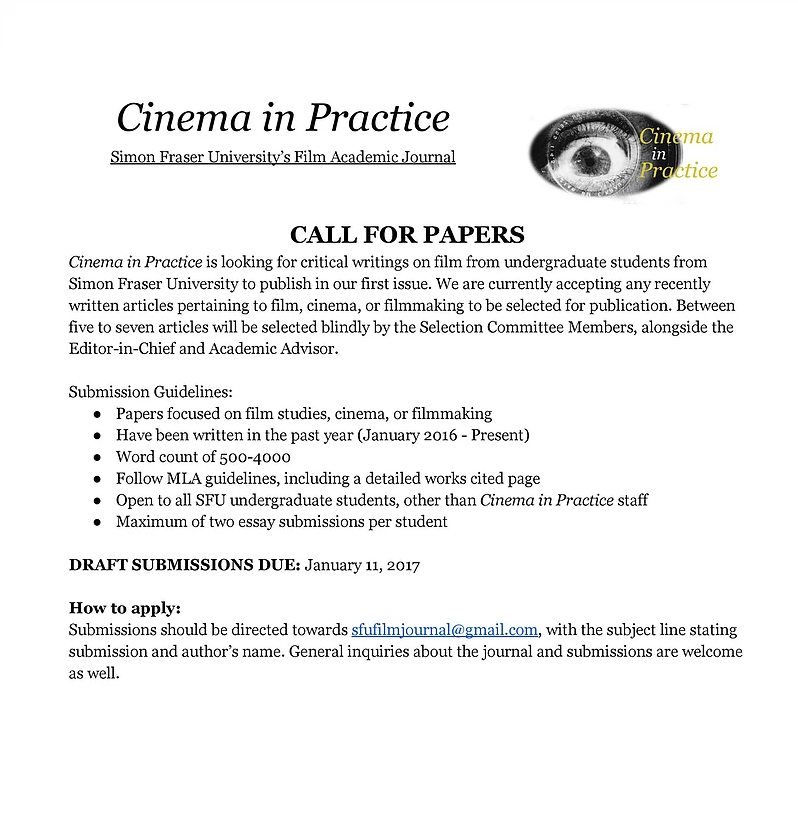 Cinema in Practice Call for Papers