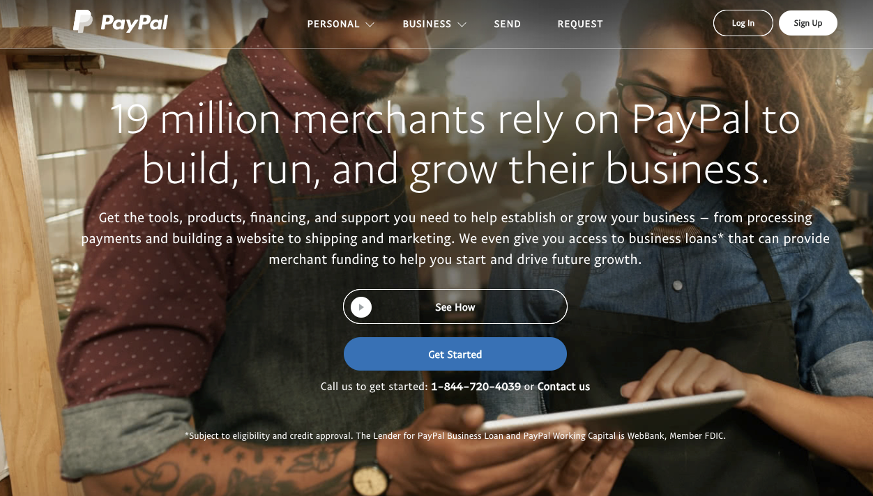 The PayPal.com homepage.