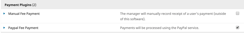 screenshot of payment plugin in OJS