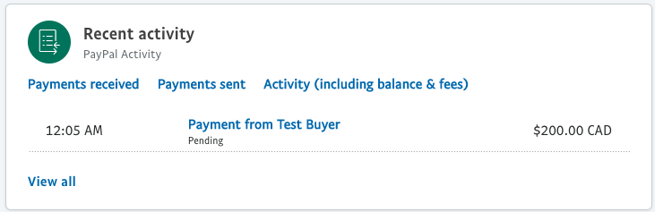 Screenshot of test payment received in the recent PayPal activity screen.
