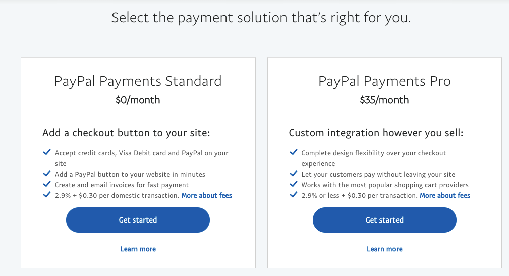The two business account options available on PayPal: Standard (Free) or Pro (includes customizable site integration for $35/month).