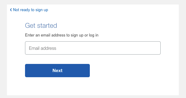 The PayPal business account email registration field.